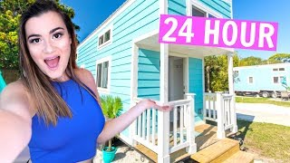 24 hours in a TINY HOUSE challenge!! - Video Youtube