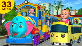 Wheels On The Bus, Train, Car Go Round and Round  | +More 3D Nursery Rhymes & Songs for Children