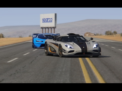 Bugatti GT Vision vs Koenigsegg One:1 at Black Cat Country