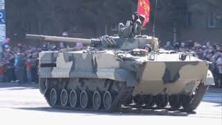 The BMP-3 IFVs waltz on the central square of Kurgan, Russia, during the Victory Day Parade in 2013