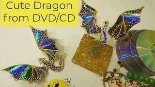 Waste Material Craft Ideas|Recycle DVDs In To Cute Dragon #bestoutofwaste #RecycleDVDs #cdrecycling