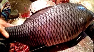 Amazing Live Fish Cutting Skills in Fish Market 2019-Fastest Rui Fish Slicing