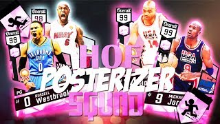 ALL HALL OF FAME POSTERIZER LINEUP VS GOD SQUAD!! PINK DIAMOND MJ TAKES OFF FROM THE FT LINE!!!