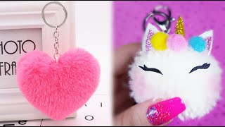 3 DIY: HOW TO MAKE PLUSH POMPOM KEY CHAIN + UNICORN AND HEART POMPOM