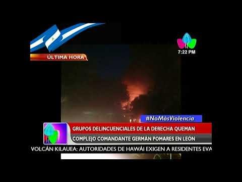 Grupos vandálicos de la derecha queman Complejo Germán Pomares en León