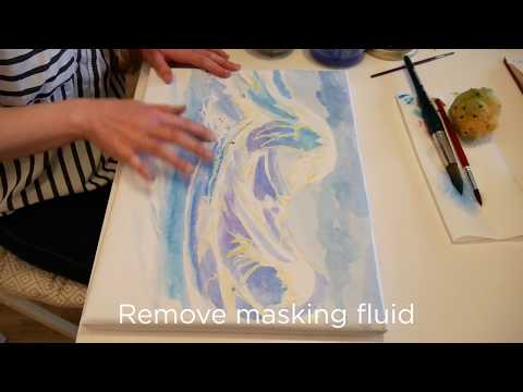 AQUA, the first canvas for watercolors - Masking fluid test