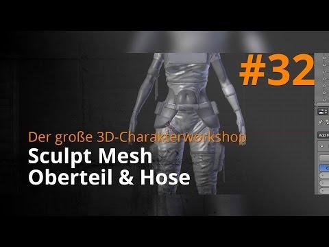 Blender 3D-Charakterworkshop Teil 1 | #32 - Sculpt Mesh Oberteil & Hose