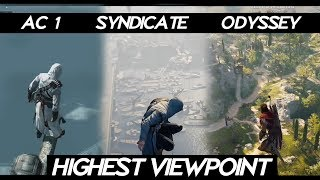 """AC Odyssey """"Jumping From Highest Viewpoint in all ASSASSINS CREED Games""""   PC 2018"""