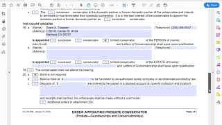 How an Attorney Fills out the Order on a Limited Conservatorship of the Person Only Form (GC-340)