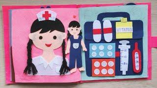Đồ chơi SÁCH VẢI NGÔI NHÀ CÔNG CHÚA BÚP BÊ, BÉ TẬP LÀM BÁC SĨ - Quiet book doll house (Chim Xinh)