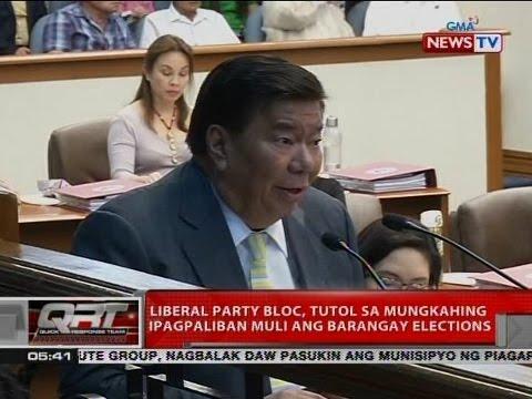 QRT: Liberal Party Bloc, tutol sa mungkahing ipagpaliban muli ang barangay elections