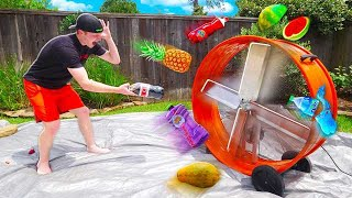 THROWING SATISFYING THINGS INTO A GIANT FAN!