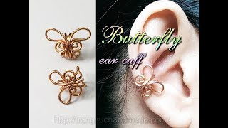 Simple Butterfly Ear Cuff - Handcrafted Copper Jewelry 348