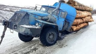 Extremely Dangerous Logging Truck Drivers Skills ! Truck Crossing River And Climbing Muddy Road