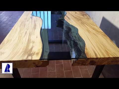 OLIVE RIVER TABLE - TAVOLO OLIVO E CRISTALLO