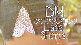 Denim Lace Shorts ♥ DIY