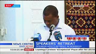 Speaker of the national assembly, Justin Muturi opening the speakers' retreat