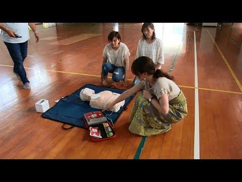種子島の学校活動:西野小学校心肺蘇生とAEDの使い方講習2018年