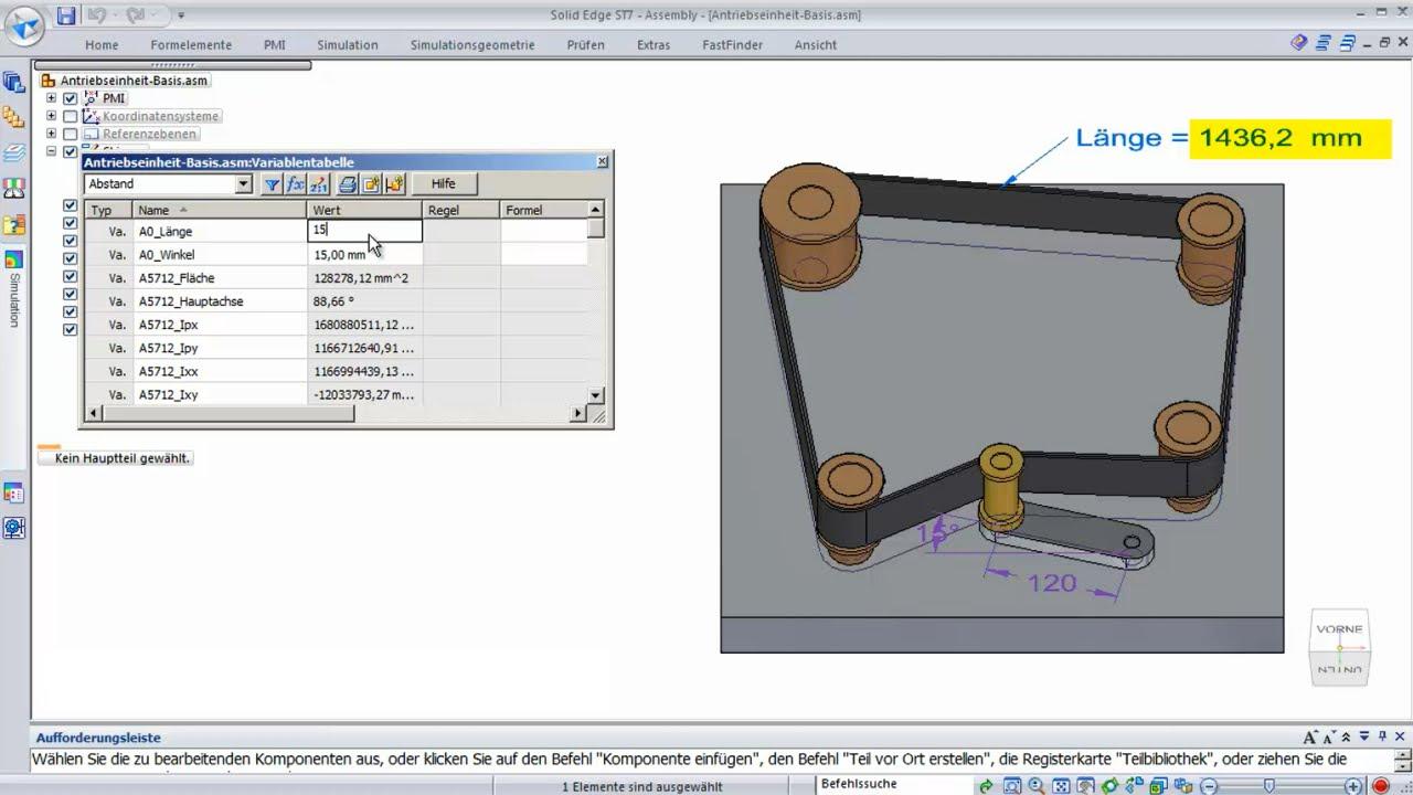 Vorschaubild: Solid Edge Tutorial: Ermitteln von Riemenlängen
