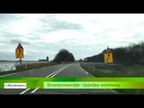 VIDEO | De tijdelijke asfaltweg langs de Drontermeerdijk is in gebruik genomen