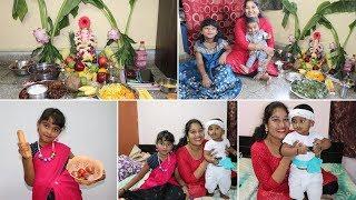 #GaneshChaturthiVLOG | DIML | Vinayaka Chaviti Celebrations Day 1 | Kids Fancy Dress Competition
