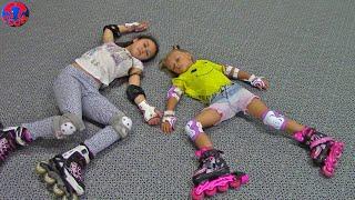 Влог Едем на роллердром Учимся Кататься на Роликах и падаем Видео для Детей