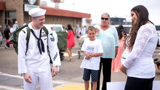 Navy sailor reacts to wife's pregnancy surprise