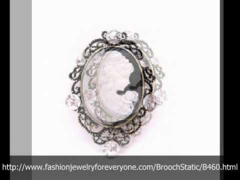 Buy Her Gift On Her Special Mother Day Cameo Brooch w/ Clear Crystals