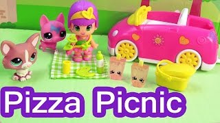Pinypon Pink Car Pizza Food Picnic Playset With LPS Littlest Pet Shop Frozen Shopkins Dog Friends