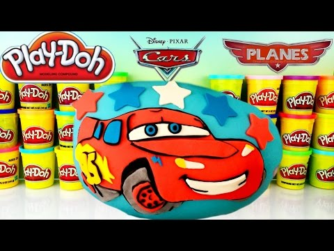 Disney Pixar CARS LIGHTNING MCQUEEN Giant Play-Doh Surprise Egg! Jump & Race Flo's V8 Track!