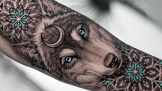 REALISTIC WOLF & GEOMETRIC TATTOO TIME LAPSE
