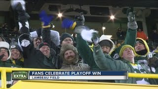 Packers fans celebrate playoff win