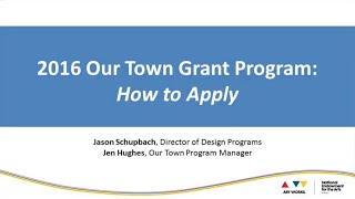 Our Town: How to Apply Webinar