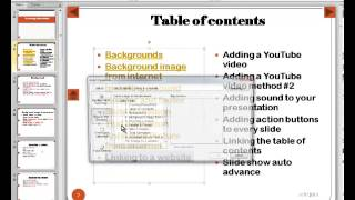 14. PowerPoint 2010 - Linking the  Table of Contents