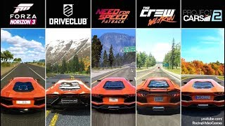 NFS Payback vs. Forza Horizon 3 vs. DriveClub vs. The Crew vs. Project CARS 2 | Aventador Comparison
