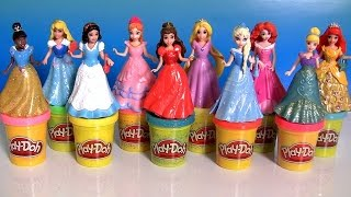 10 Disney Princess MagiClip Collection Merida Belle Snow Ariel Elsa Anna Play Doh 12 Fashions