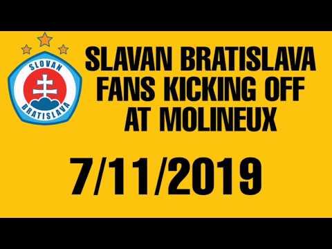 Slovan Bratislava fans kicking off at Molineux
