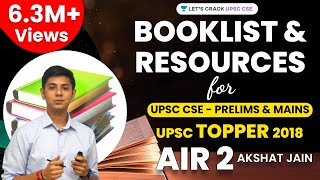 Booklist and Resources for UPSC CSE - Prelims & Mains by UPSC Topper 2018 AIR 2 Akshat Jain