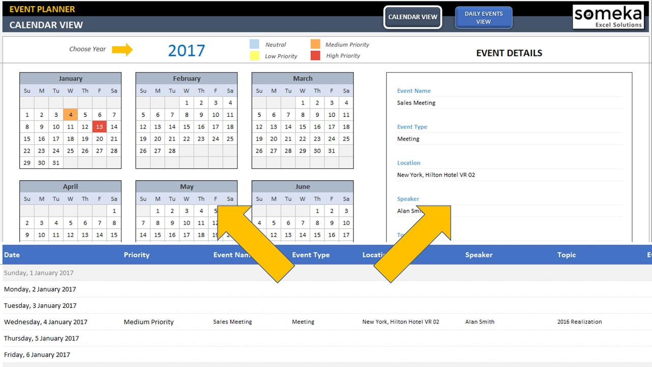 Dynamic event calendar interactive excel tempate for Calendar of events template word