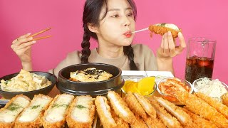 MUKBANG ASMR   Ultimate Combination😍Cheese pork cutlet and Kimchi fried rice Eat Eatingshow 아라 Ara