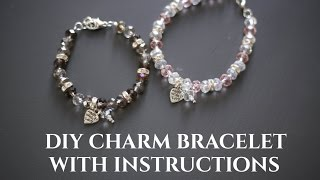 DIY Beaded Charm Bracelet With Crimp Bead, Clasp & Wire - Step By Step Instructions