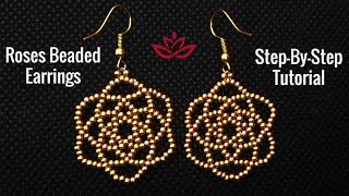 Roses Seed Beads Earrings - Tutorial. How To Make DIY Beaded Earrings?