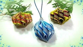 🎄 Игрушки на ёлку своими руками фонарики из косой бейки  🎄 Diy Christmas Ornaments