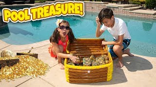 WE FOUND REAL GOLD TREASURE IN OUR SWIMMING POOL!!! Treasure X Challenge & Huge Gold Pinata Smash!