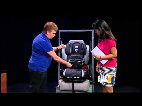Child Passenger Safety Technician shows proper way to set up car ...