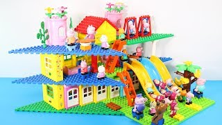 Peppa Pig Blocks Mega House With Water Slide Toys For Kids - Lego Duplo House Building Toys #4
