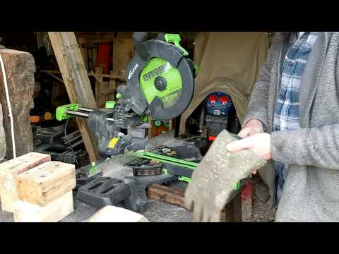Evolution F255SMS Mitre Saw - Cutting wood
