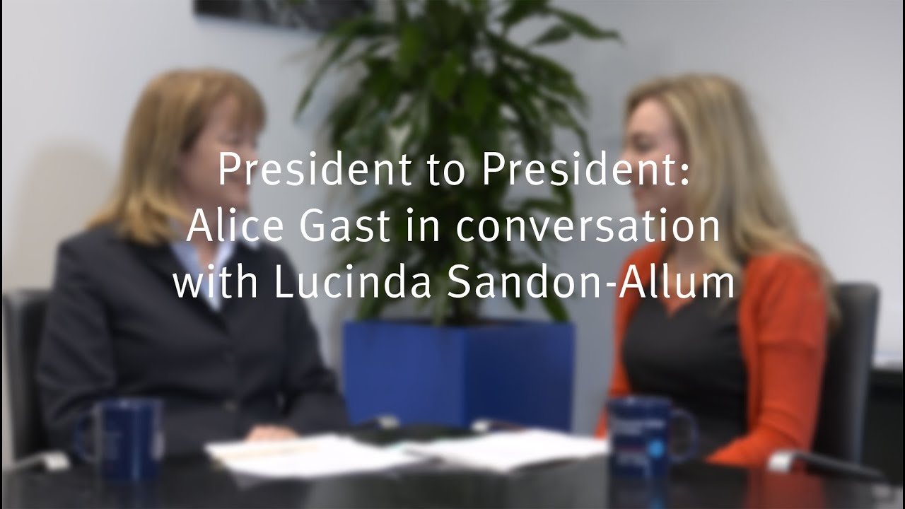 President to President: Professor Alice P. Gast in conversation with Lucinda Sandon-Allum, President of the Imperial College Union 2016.