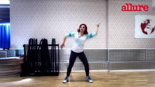 Смотреть онлайн Базовые движения зумба танца для похудения, урок