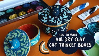 DIY HOW TO MAKE ILLUSTRATED CAT TRINKET BOXES USING AIR DRY CLAY